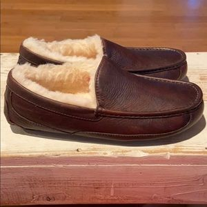 New Ugg Ascot brown wool  leather slippers.